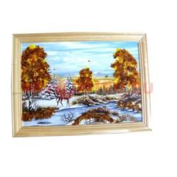 Картина из янтаря в простой светлой рамке 14х17 - фото 108481