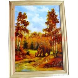 Картина из янтаря в простой светлой рамке 17х28 - фото 108497