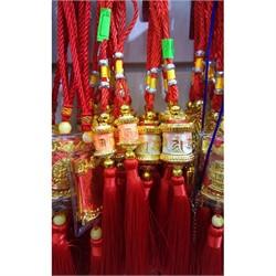 Подвеска «Буддийский барабан» большая с красными нитками - фото 115567