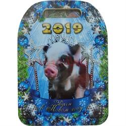 Доска разделочная деревянная Свинья символ 2019 года - фото 126304