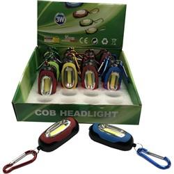 Брелок-фонарик с карабином COB Headlight светодиодный 24 шт/уп - фото 129036
