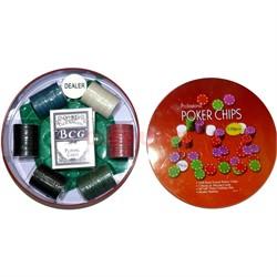 Набор для покера в круглой коробке 120 фишек - фото 133638