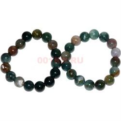 Браслет из зеленой яшмы 12 мм (натуральный камень) - фото 134415