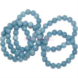 Браслет из голубого агата 10 мм (натуральный камень) - фото 139912