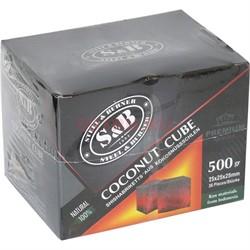Уголь для кальяна S&B кокосовый 500 гр 36 кубиков 25 мм - фото 140894