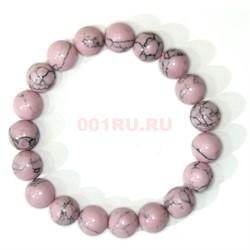 Браслет из розового кахалонга 10 мм (прессовка) - фото 147765