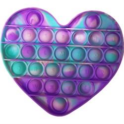 Pop it вечная пупырка силиконовая «сердце» разноцветное - фото 170189