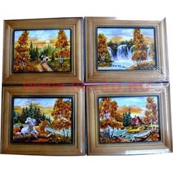 Картина из янтаря в простой темной рамке 9х11 - фото 45510