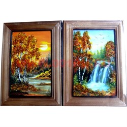 Картина из янтаря в простой темной рамке 14х17 - фото 45518
