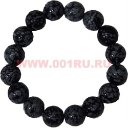 Браслет из черного кахалонга 12 мм (натуральный камень) - фото 45722