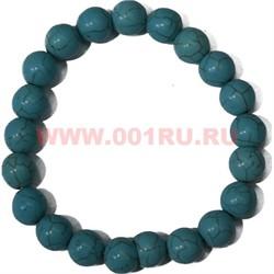 Браслет из синей бирюзы 10 мм (натуральный камень) - фото 45768