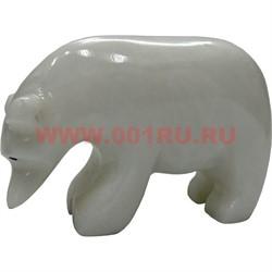 Белый медведь из белого оникса 5,5 см (3 дюйма) - фото 45774