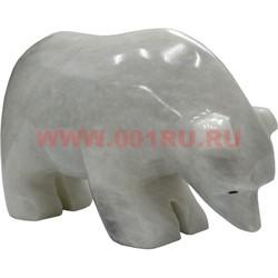 Белый медведь из белого оникса 6,5 см (4 дюйма) - фото 45778