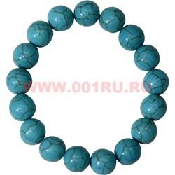 Браслет из синей бирюзы 12 мм (натуральный камень) - фото 45782
