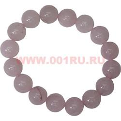 Браслет из розового кварца 12 мм (натуральный камень) - фото 45792