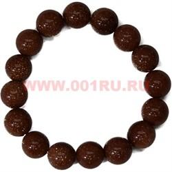 Браслет из коричневого авантюрина 12 мм (натуральный камень) - фото 45824