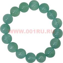 Браслет из светло-зеленого агата 12 мм (натуральный камень) - фото 45859
