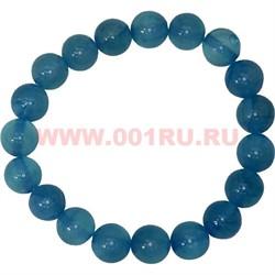 Браслет из голубого агата 10 мм (натуральный камень) - фото 45892