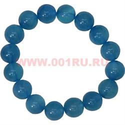 Браслет из голубого агата 12 мм (натуральный камень) - фото 45905