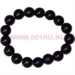 Браслет из черного агата 12 мм (натуральный камень) - фото 45944