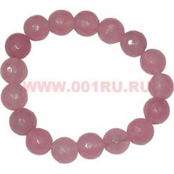 Браслет граненный 10 мм из розового кварца - фото 45961