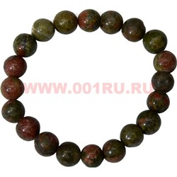 Браслет из зеленой яшмы 10 мм (натуральный камень) - фото 46039