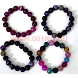 Браслет из агата 12 мм фиолетовых оттенков (натуральный камень) - фото 46129