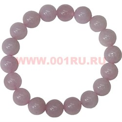 Браслет из розового кварца 10 мм (натуральный камень) - фото 46144