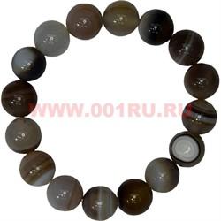 Браслет из серого агата 12 мм (натуральный камень) - фото 46193