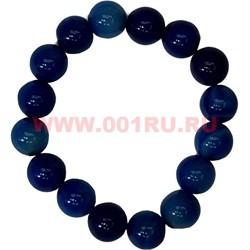 Браслет из голубого агата 12 мм (натуральный камень) - фото 46213