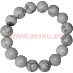 Браслет из белого кахалонга 12 мм (натуральный камень) - фото 46312