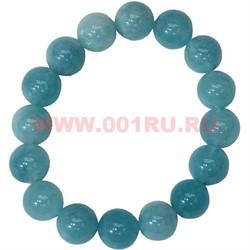 Браслет из голубого агата 12 мм (натуральный камень) - фото 46320