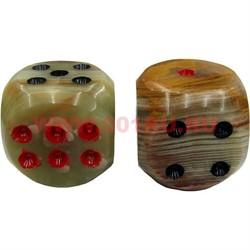Кости игральные из оникса малые 8-10 мм (размер может варьироваться - ручная работа) - фото 46562