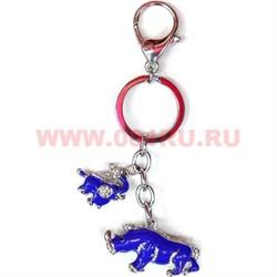 """Брелок ФэнШуй """"Носорог и слон"""" из металла 2 качество - фото 46802"""
