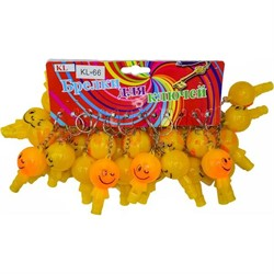 Брелок (KL-66) свисток смайлик светящийся желтый, цена за 120 шт (1200 шт/кор) - фото 47053