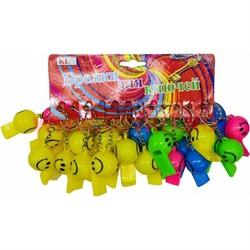 Брелок (KL-487) свисток смайлик светящийся разноцветный 120 шт/уп - фото 47114