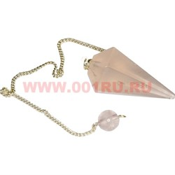 "Подвеска-маятник 4 см ""розовый кварц"" на цепочке с камешком - фото 47237"