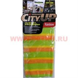 Салфетка из микрофибры (CA-104) Rainbow 3-цветное микроволокно 50 шт/кор - фото 47832