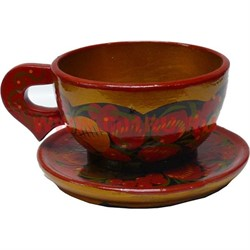 Чашка с блюдцем хохлома - фото 47932