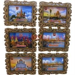 """Магнит """"Москва"""" в ассортименте деревянный прямоугольный - фото 47982"""