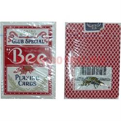 Карты для покера Bee красная рубашка, цена за 2 упаковки - фото 48401