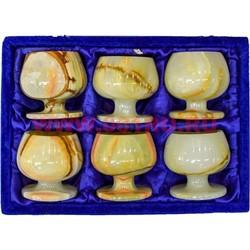 Набор из оникса 6 бокалов 8 см «бренди» (3х3) в бархатной упаковке - фото 57322