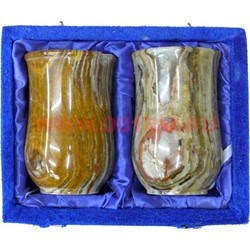 Набор из 2 стаканов 10 см (2,5х4) в бархатной коробочке из оникса - фото 60383