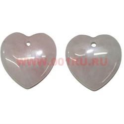 Сердечки 3,5 см из розового кварца (подвески) цена за 2 штуки - фото 62045