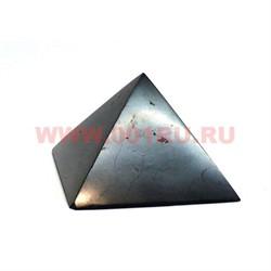 Пирамида из шунгита для очищения воды полированная 2 см - фото 65901