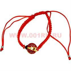 Браслет красная нить и божья коровка (D-1493) цена за 100 шт - фото 76698
