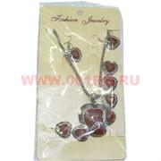 Набор: Колье, браслет, серьги (M-139) Сердце цена за упаковку из 12шт