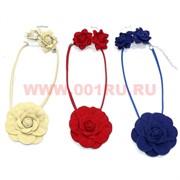 Колье и серьги из замши (E-58) крупный цветок цена за упаковку из 12шт