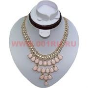 Колье и серьги в форме капли на золотистой цепочке (K-32) цвет розовый цена за упаковку из 12шт