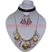Колье и серьги на золотистой цепочке (K-32) цвет сиреневый цена за упаковку из 12шт